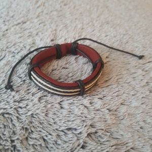 Other - Men's Coated Leather and Cord Bracelet